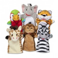 Set 6 papusi de mana Animale Safari Melissa & Doug, stofa