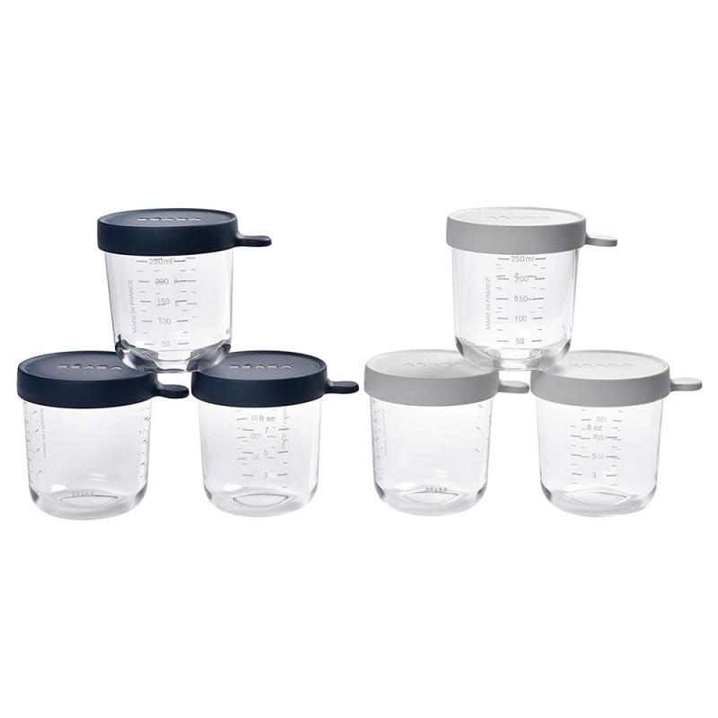 Set 5 recipiente Beaba, 250 ml, sticla, inchidere ermetica, Albastru 2021 shopu.ro