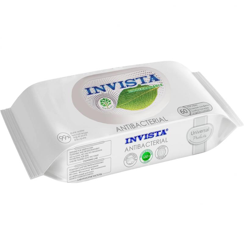 Servetele umede antibacteriene Invista, 180 x 190 mm, biodegradabile, 60 bucati 2021 shopu.ro