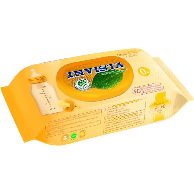 Servetele umede biodegradabile Invista, 180 x 190 mm, contin D-Panthenol, 60 bucati 2021 shopu.ro
