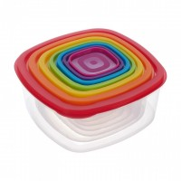 Set caserole patrate Joy Vanora, 150-4500 ml, 7 bucati, plastic, Multicolor