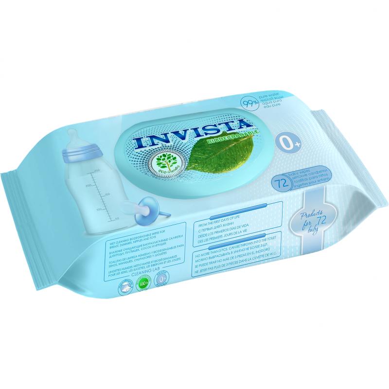 Servetele umede biodegradabile Invista, 180 x 190 mm, contin D-Panthenol, 72 bucati 2021 shopu.ro