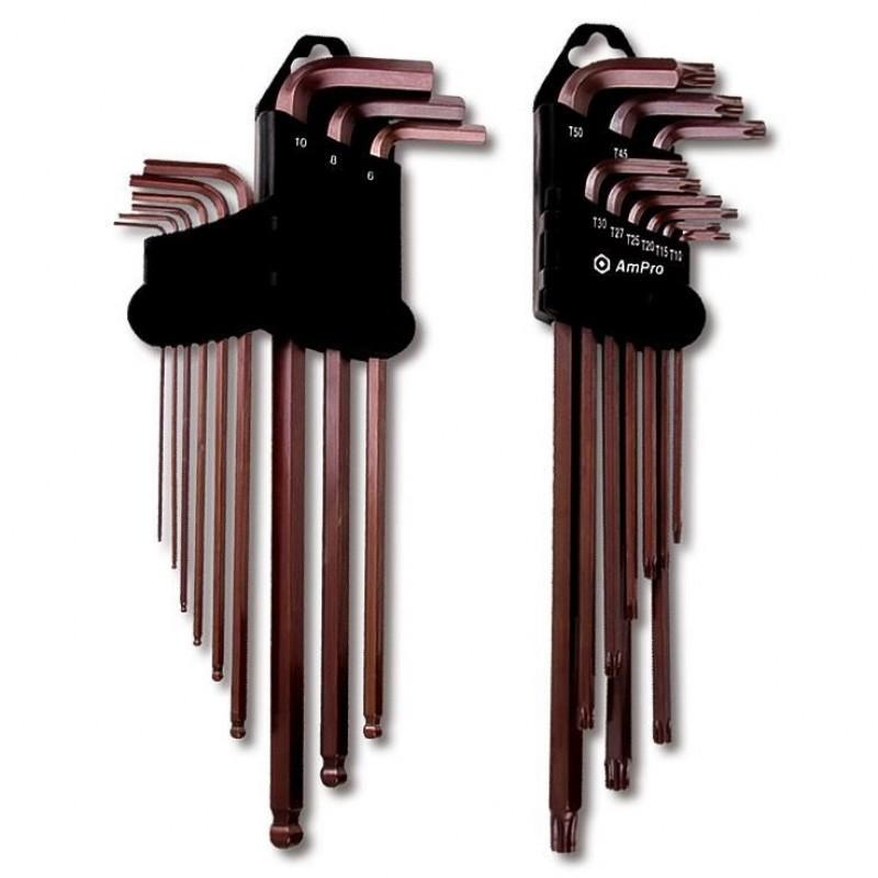 Set 9 chei imbus AmPro extra lungi, cap sferic, 1.5 - 10 mm imagine