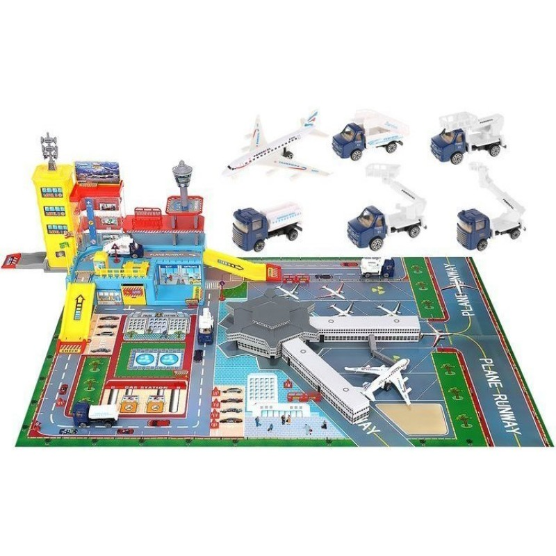 Set de constructie aeroport cu pista Iso Trade, 95 x 60 x 28.5 cm, 70 piese, plastic/metal, 3 ani+ 2021 shopu.ro