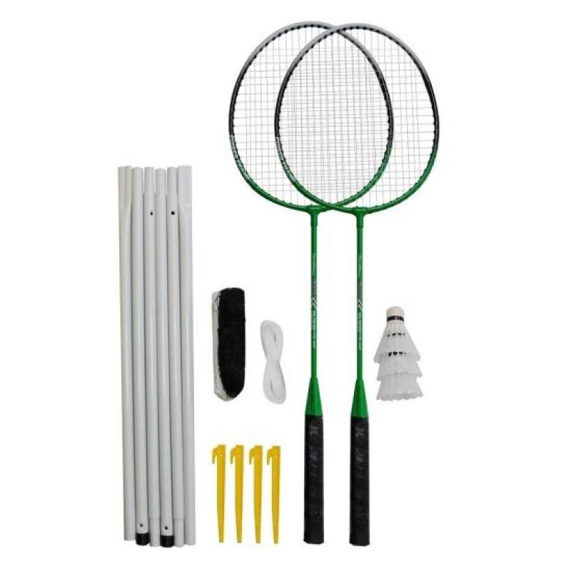 Set Badminton DHS, 600 x 60 cm, 2 rachete, fir nailon, maner poliuretan, Verde/Negru 2021 shopu.ro