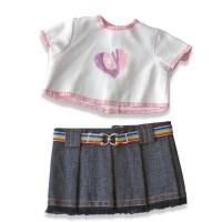 Set bluza si fusta denim pentru papusi Miniland, 21 cm