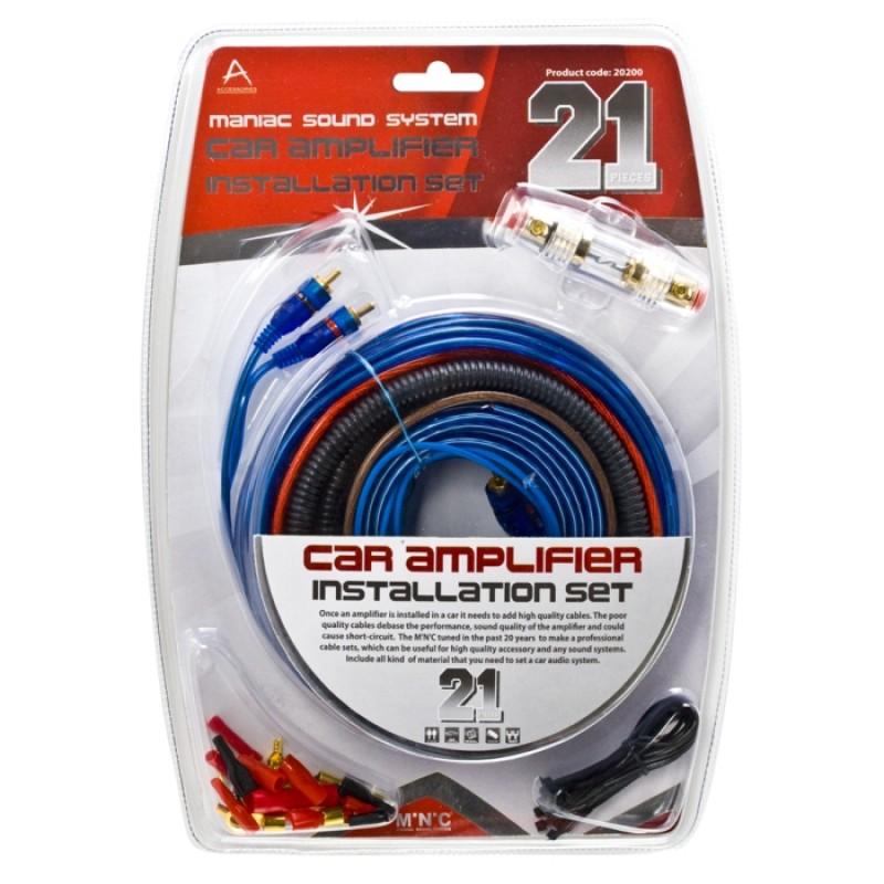 Set cabluri auto pentru sistem audio Carguard, siguranta 60 A, 21 piese 2021 shopu.ro