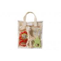 Set pentru dentitie girafa Sophie Vulli, 17 cm, cauciuc, saculet inclus, 0 luni+
