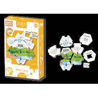 Set carduri Circuitul apei in natura Learning Kitds, 13 piese de puzzle, 6 carduri cu intrebari