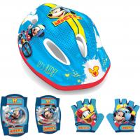 Set protectie Mickey Seven, casca/genunchiere/cotiere/manusi, PVC, 3-10 ani, Multicolor