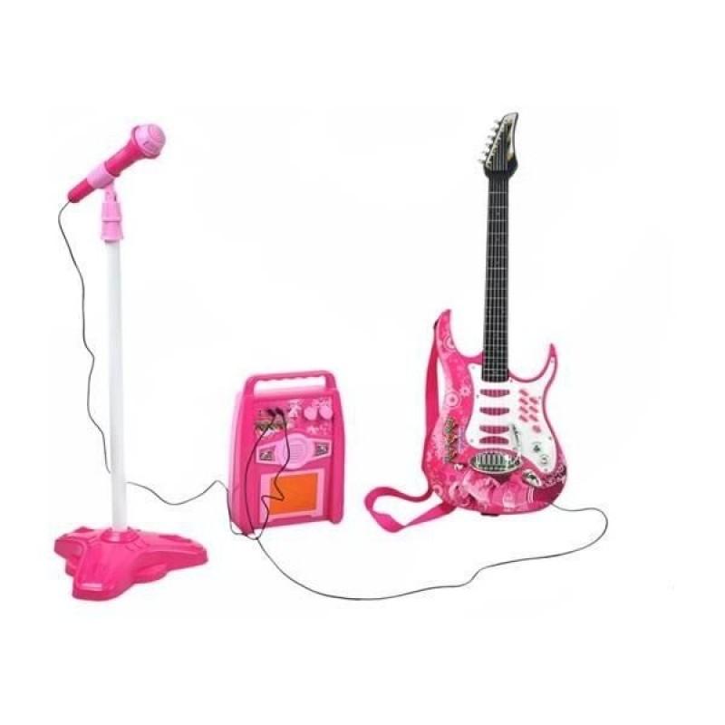 Set chitara/microfon Iso Trade, 6 melodii demo, amplificator inclus, control volum, 3 ani+, Roz/Alb 2021 shopu.ro