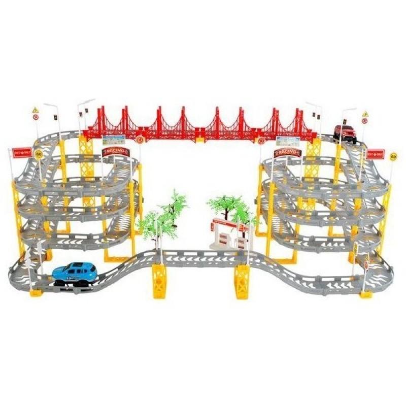 Joc circuit supraetajat pentru masinute Iso Trade, 236 piese, 8 m, 2 masinute incluse, 3 ani+, Multicolor 2021 shopu.ro