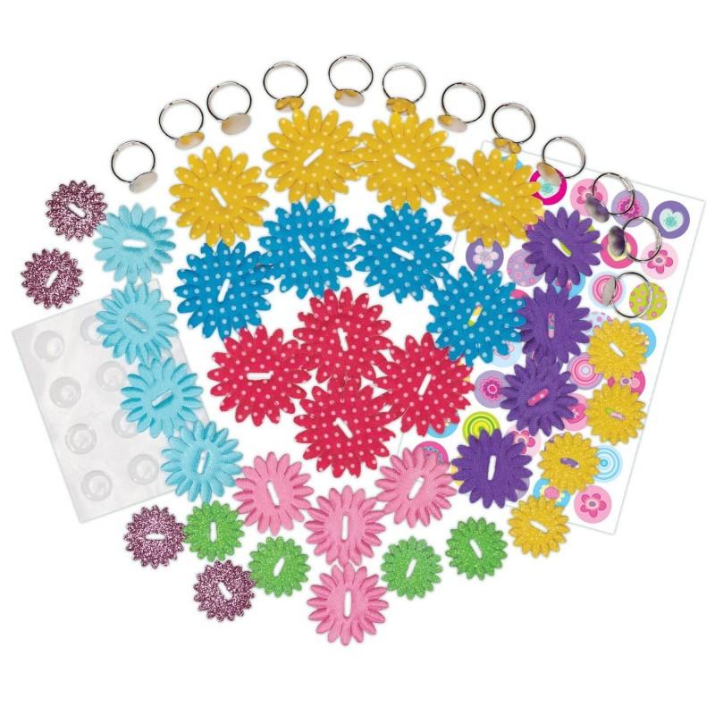Set creativ Inele cu floricele Galt, 12 inele, 6 ani+, Multicolor 2021 shopu.ro