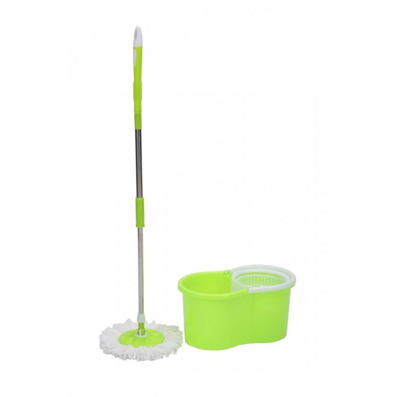 Mop rotativ Vanora, galeata inclusa, rezerva microfibra, maner telescopic, Verde shopu.ro
