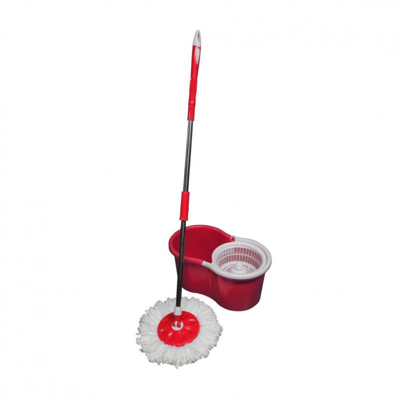 Mop rotativ Vanora, galeata inclusa, rezerva microfibra, maner telescopic, Rosu shopu.ro