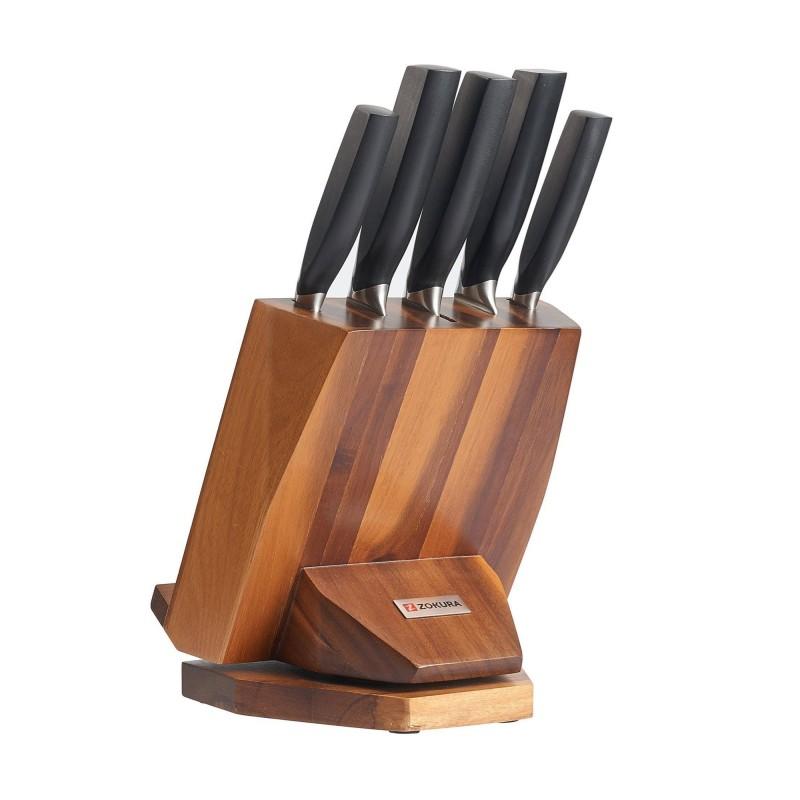 Set cutite Zokura, 6 piese, suport rotativ, inox 2021 shopu.ro