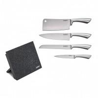 Set cutite Cooking by Heinner, 5 piese, inox, suport magnetic inclus, Argintiu