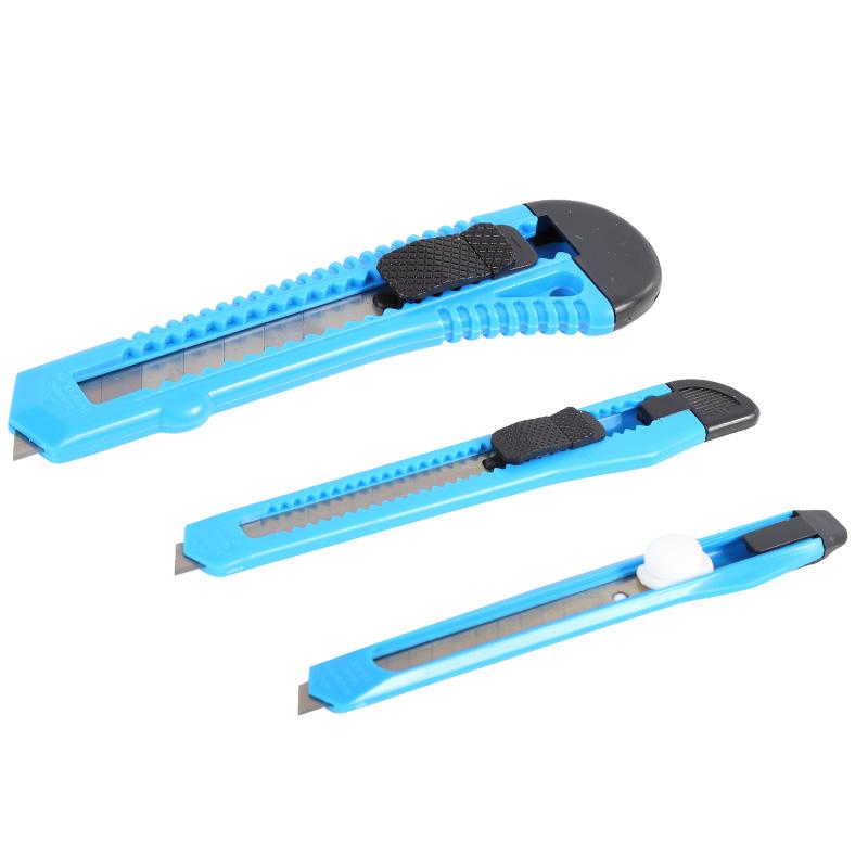 Set 3 cuttere plastic Mega, fixare cu blocator, Albastru 2021 shopu.ro