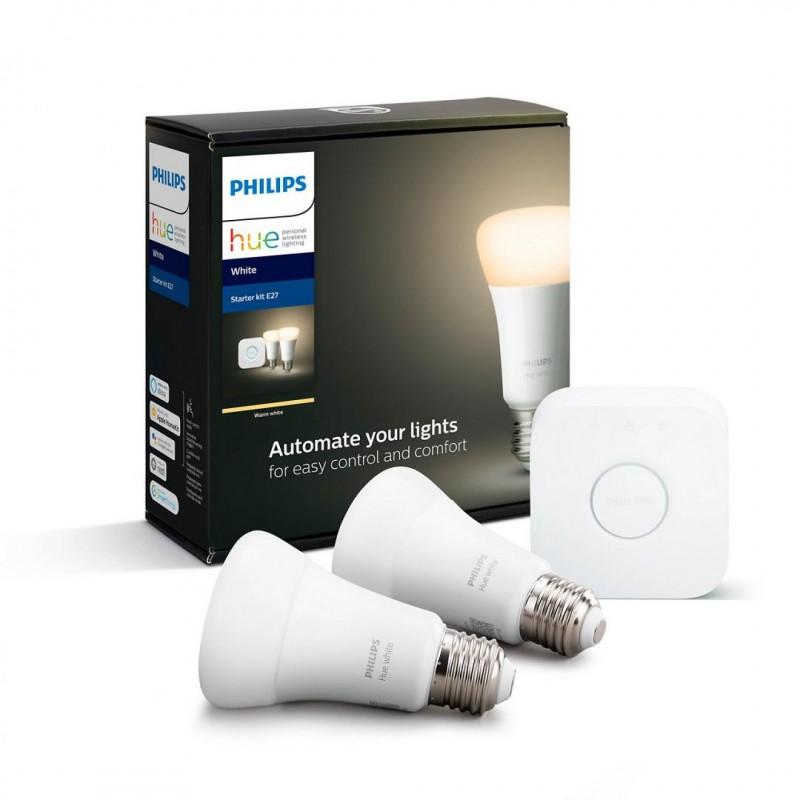 Set Becuri Inteligente LED Philips Hue Starter, Wireless, Bluetooth, 9 W, 220 V, 806 Lumeni, E27, 2700K, A+, aplicatie, Hue Bridge, 2 bucati shopu.ro