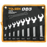 Set de 8 chei de piulite Tolsen, capat deschis dublu, Cr-V