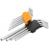 Set de 9 chei hexagonale torx cu brat lung Cr-V Tolsen, T10-T 50