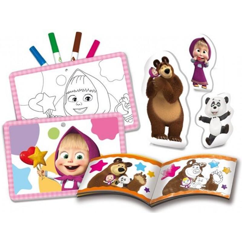 Set de colorat Ne distram cu Masha si Ursul Lisciani, 32 pagini, 2 ani+ 2021 shopu.ro