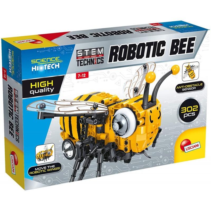 Set de constructie Stem Albinuta robot Lisciani, 302 piese, 7-12 ani, Galben/Negru