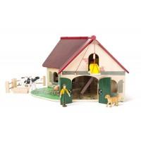 Set de construit Ferma cu figurine, 58 x 48 cm, 3 ani+