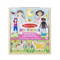 Puzzle magnetic Prietenele Melissa & Doug, 2 papusi, 78 haine, 3 ani+