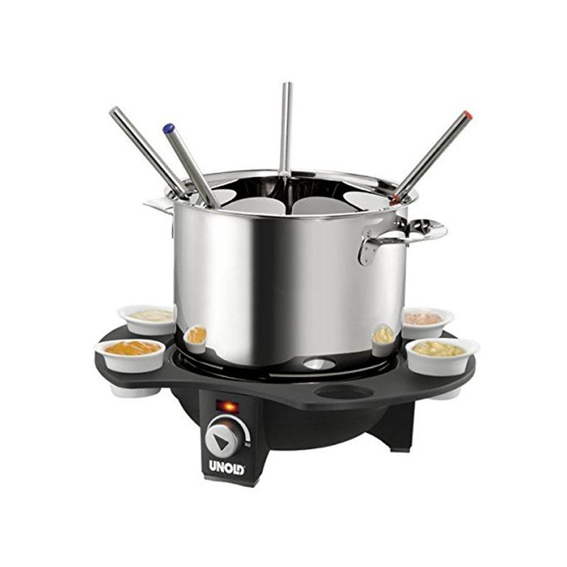 Set fondue electric Unold, 1000 W, 1.5 L, baza termorezistenta, control temperatura, accesorii incluse 2021 shopu.ro