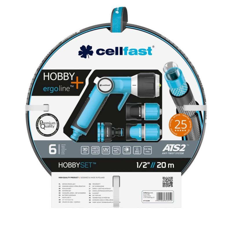 Set furtun gradina Cellfast Premium Hobby, 20 m, 30 bar, 6 straturi, antirasucire, protectie UV, flexibil, pistol multifunctional, conector 1/2 inch, adaptor cu filet, Albastru shopu.ro