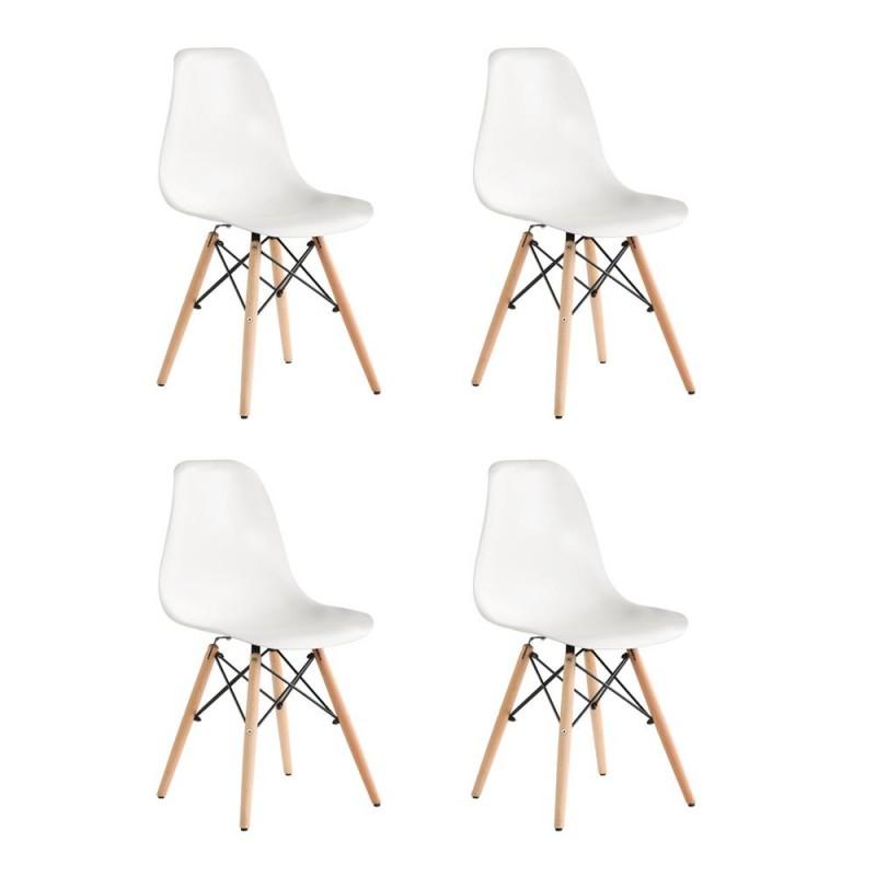 Set 4 scaune Truly Heinner, 82 x 58 x 57 cm, lemn de fag/otel, sezut plastic, maxim 200 kg, Alb shopu.ro