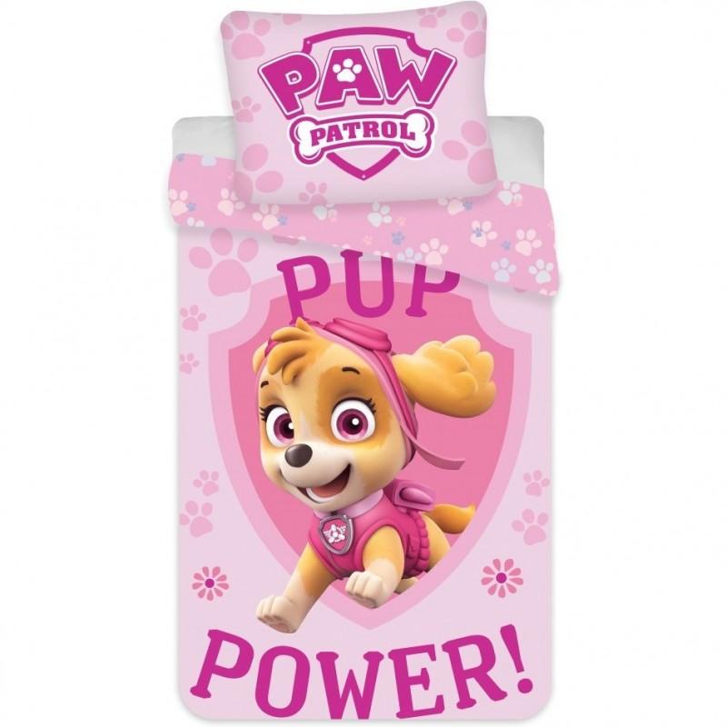 Set lenjerie Paw Patrol Pup Power Skye SunCity, 100 x 135 cm, bumbac, 2 piese, Roz 2021 shopu.ro