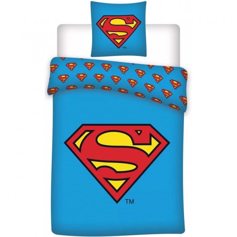 Set lenjerie Superman SunCity, 140 x 200 cm, bumbac, 2 piese, Albastru/Rosu 2021 shopu.ro