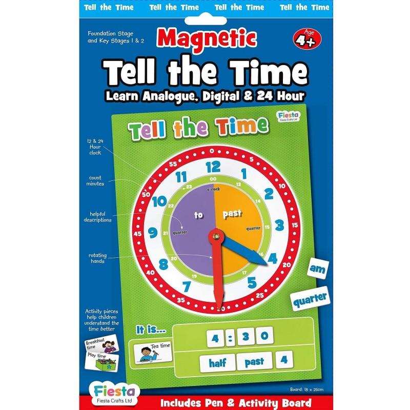 Set magnetic Cat e Ceasul Fiesta Crafts, 58 piese, 18 x 25.5 cm, 4 ani+