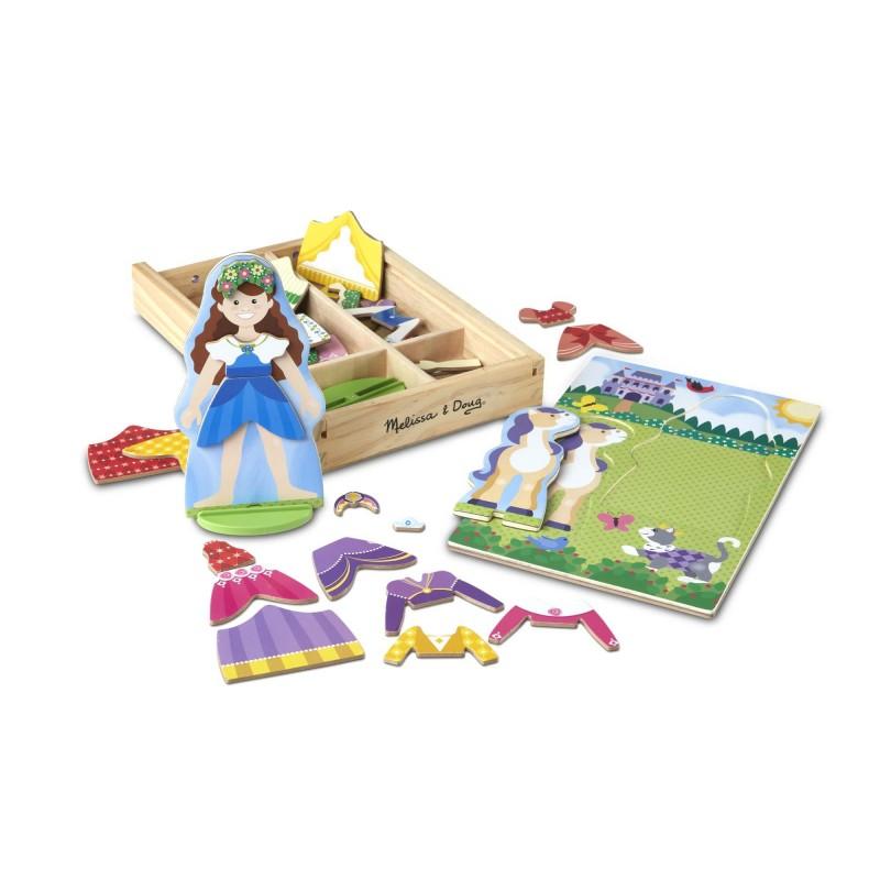 Puzzle magnetic de imbracat printesa si calutul Melissa & Doug, 37 piese, Multicolor