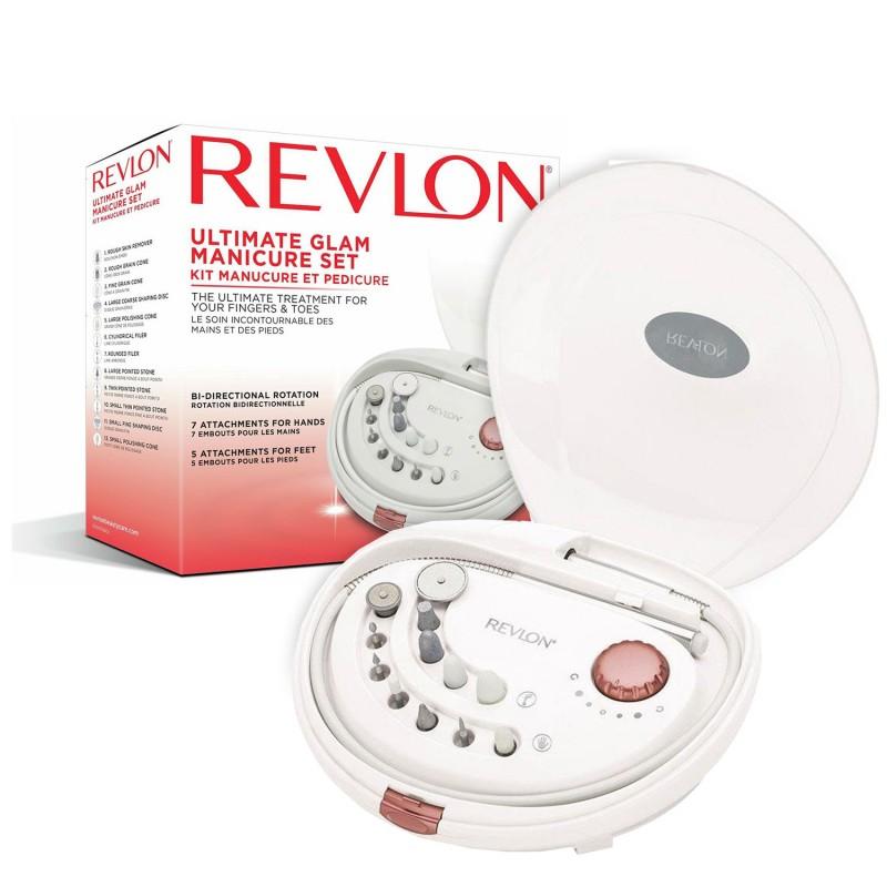 Set manichiura/pedichiura Revlon Ultimate Glam, 3000-18000 rpm, 2 sensuri de rotire, accesorii incluse, Alb 2021 shopu.ro