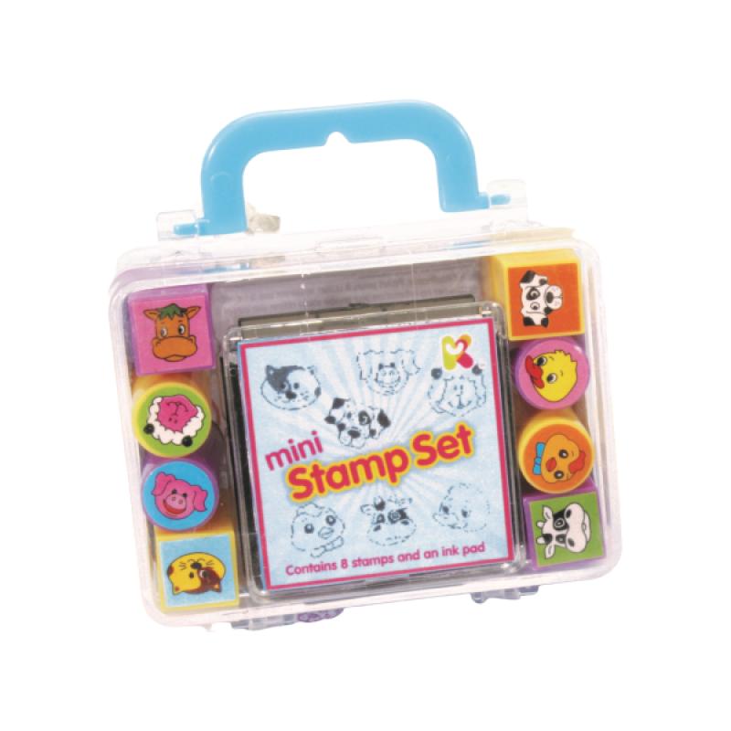 Set Mini stampile si tusiera Keycraft, 8 stampile, 8 x 5 x 3 cm, 3 ani+ 2021 shopu.ro