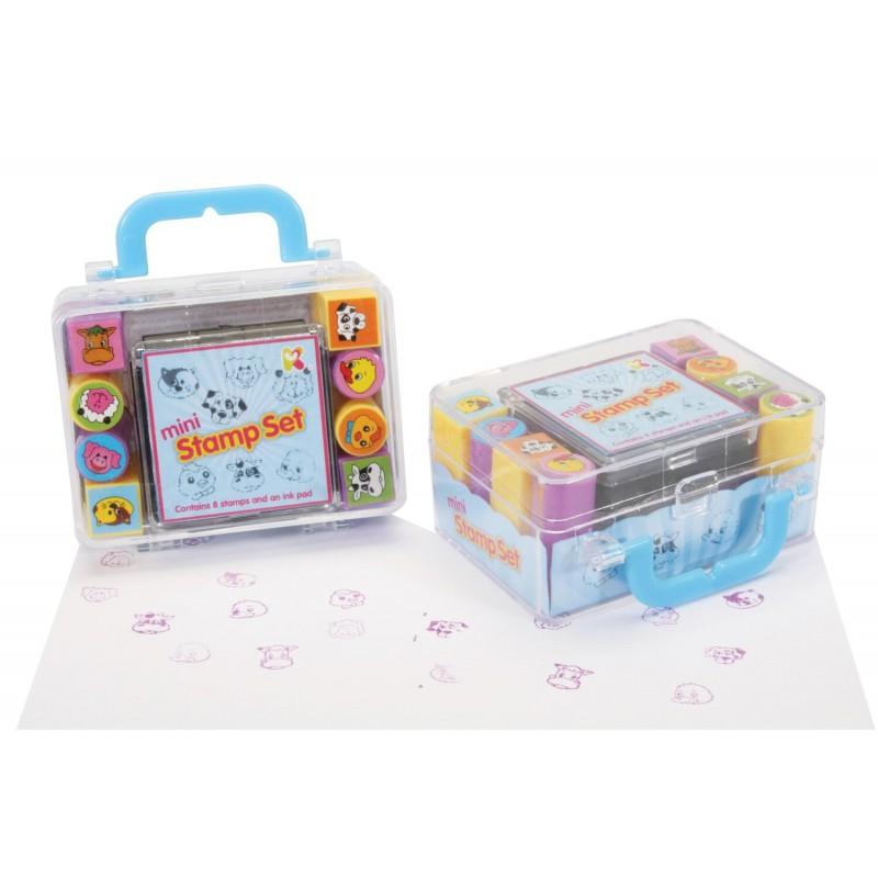 Set tusiera cu stampile Keycraft, 7.5 x 5.5 x 4 cm, 8 stampile, 5 ani+, Multicolor 2021 shopu.ro