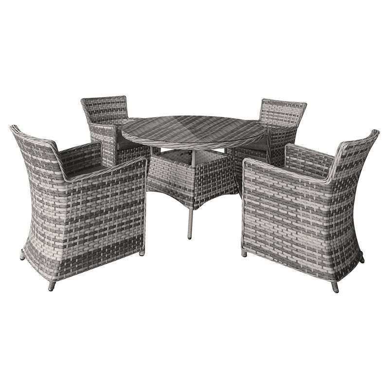 Set mobilier gradina Amber Teesa, 4 locuri, impletitura tecnoratan, 4 perne incluse, maxim 150 kg, Gri/Bej 2021 shopu.ro