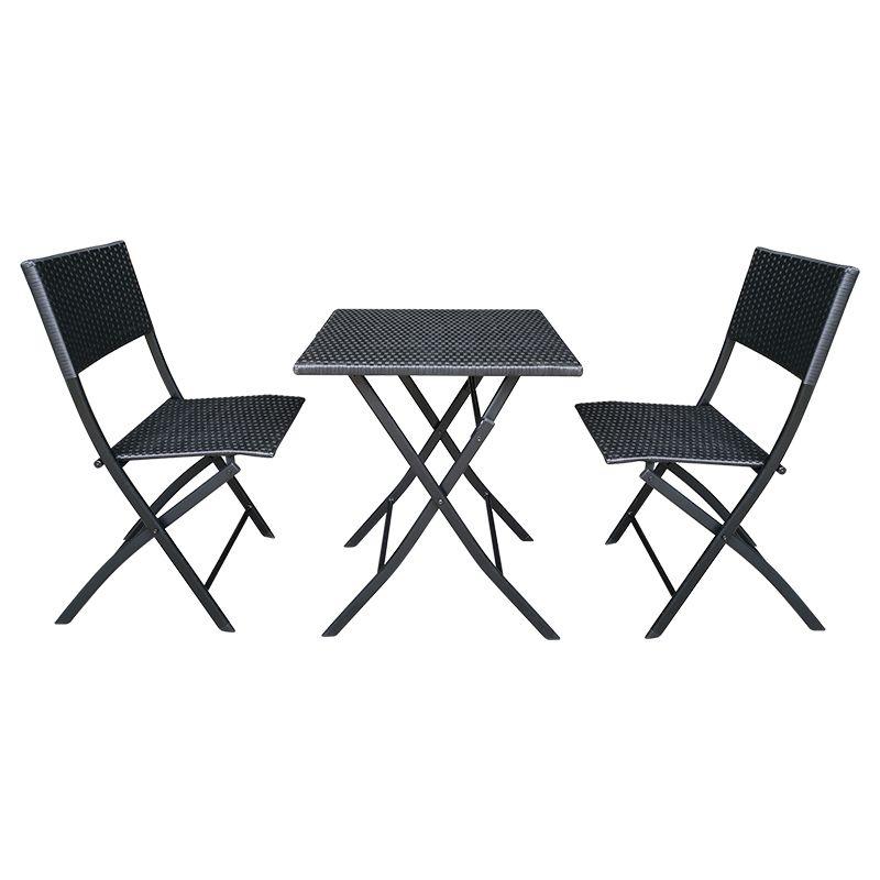 Set mobilier pentru terasa Andy Teesa, 2 locuri, maxim 120 kg, Negru shopu.ro