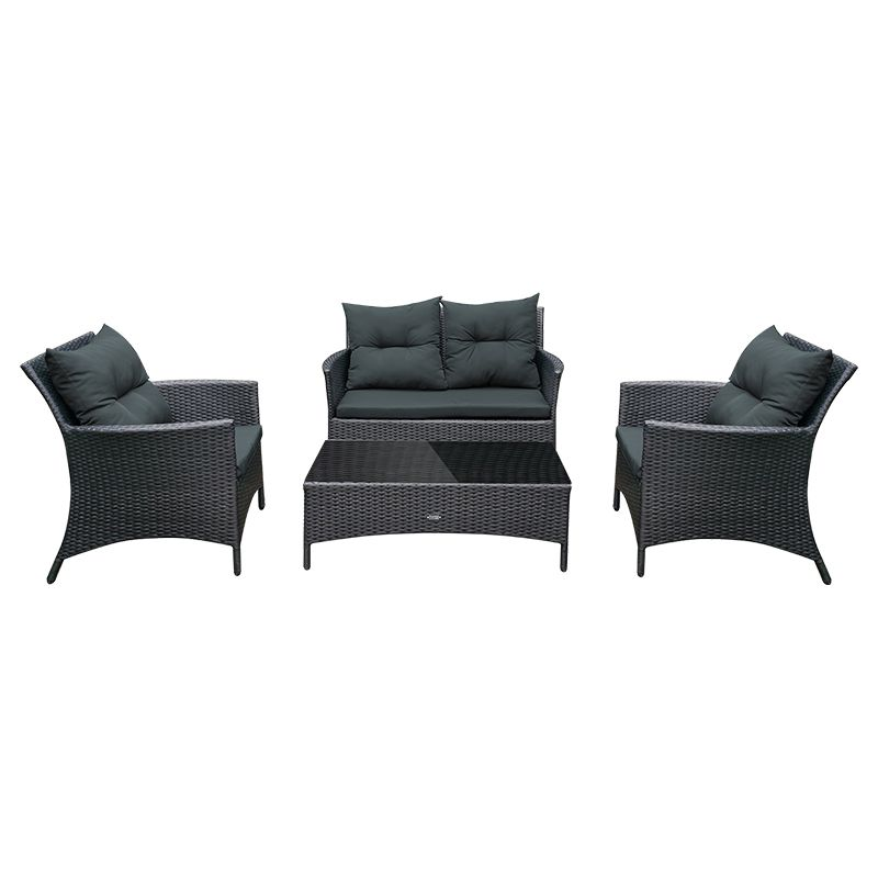 Set mobilier gradina Lily Teesa, 4 locuri, impletitura tecnoratan, Negru 2021 shopu.ro