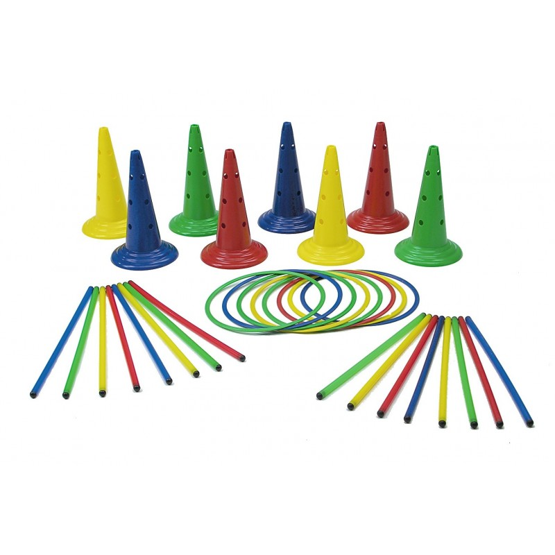Set motricitate Multisaltarello Mare, 8 conuri, 8 cercuri, 16 bete gimnastica 2021 shopu.ro