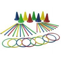 Set motricitate Multisaltarello Mic, 8 conuri, 8 cercuri, 20 bete gimnastica