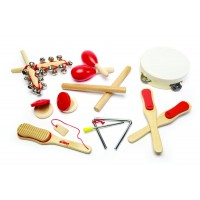Set muzical pentru copii Tidlo, 14 instrumente, dezvolta abilitatile muzicale, coordonarea mana-ochi, ritmul