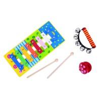 Set muzical BigJigs, xilofon cu doua bete din lemn, castanieta, zurgalai