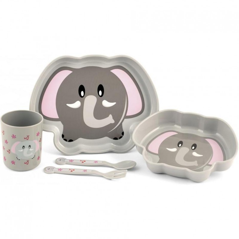 Set pentru masa 5 piese Elefant Lulabi, nu contin BPA 2021 shopu.ro