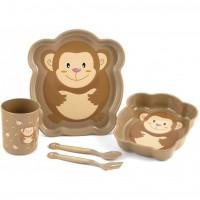 Set pentru masa Maimutica Lulabi, 5 piese, Maro