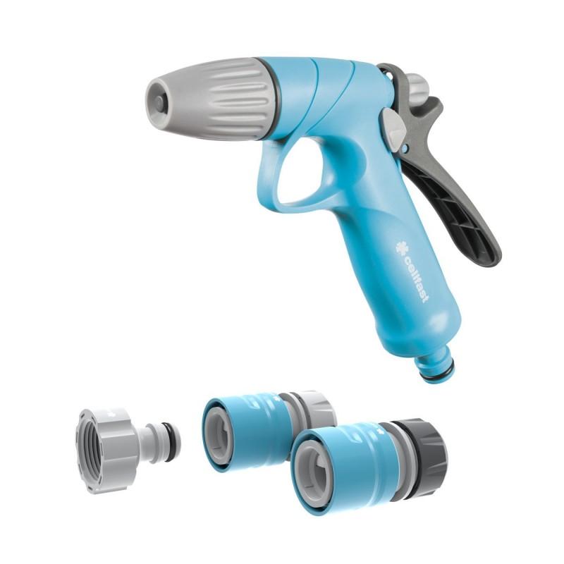 Set pistol pentru stropit Cellfast Ideal, debit reglabil, sistem blocare, adaptor cu filet, conectori 1/2 - 5/8 inch, Albastru shopu.ro