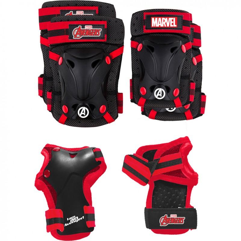 Set protectie Skate Cotiere Genunchiere si Incheieturi Avengers Seven, 3 - 7 ani, Rosu/Negru 2021 shopu.ro